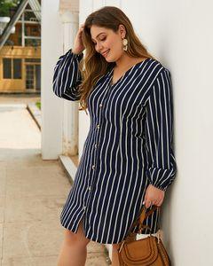 Womens Designer Robes Automne Plus Size Robes col en V à manches longues robes crayon Brefs femmes à rayures Vêtements Imprimer
