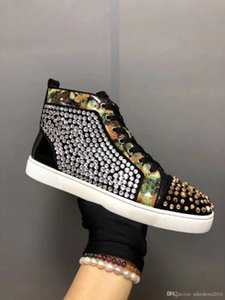 Luxurious Black Bead piece Max Casual Flat Strass Rhinestones Mixed High-top Men Women Red Bottom Sneakers Shoes -- Party Wedding
