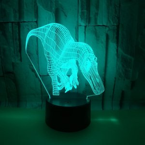 Foreign Trade New Pattern Dinosaur Touch Colorful 3d Lamp Second Gram Force Small Night-light Illusion Lamp 3d Led Desk Lamp