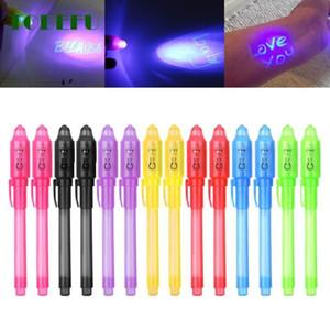 2 en 1 lumineux lumière invisible stylo à encre UV Check argent Dessin secret d'apprentissage Stylos magie éducation Jouets éducatifs cadeau