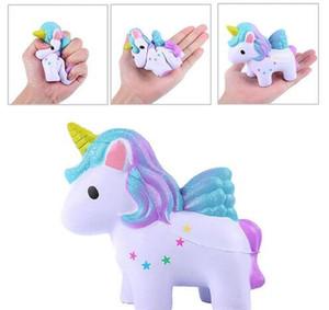 O arco-íris Cor do unicórnio Squishy brinquedos coloridos Cavalo lenta subida Kawaii macias Squeeze Jumbo encantos de telefone Apaziguador do esforço