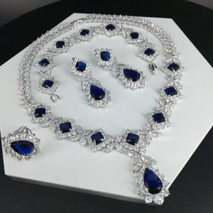 Новая мода ретро синих капли воды ожерелья циркон серьги браслет кольцо невеста свадьба ужина платье партии ювелирных изделий свободной перевозки груза