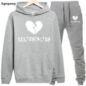 Abbigliamento Set Abiti casual americano Rapper Outfits XXXTentacion Mens Tute Casual Designer 2pcs Sport jogging con cappuccio