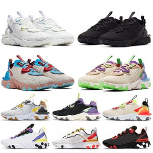 nike react vision stock x nike epic react element 55 87 Venta al por mayor Hombres Mujeres Zapatos para correr Triple Blanco Negro Photon Dust Trainers Zapatillas de deporte