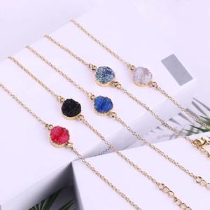 Braccialetto Chain della pietra della resina di modo Druzy Drusy Braccialetti della catena di placcatura dell'oro per le donne eleganti delle ragazze Migliori regali dei gioielli