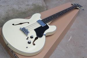 새로운 4 문자열 고품질 세미 할로우 우유 흰색 전기베이스 기타 크롬 하드웨어, 로즈 우드 지판, 제공 사용자 정의