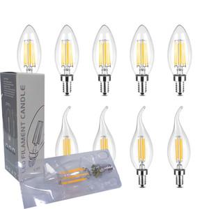 110V 220V Dimmable LED Candelabra Bulb C35 C35L Shape Flame Tip Style 60Watt Equivalent E12 E14 Base 4W Chandelier LED Filament Light Bulbs