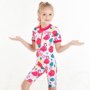 Купальный костюм Дети девочки Swim Wear One Piece купальник девушка 10 лет Hat Дети Защита от солнца Пляжная малышей Swim Vest 2020