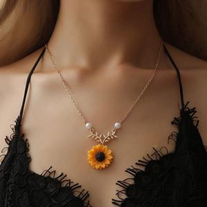 Kadınlar Takı Aksesuar Ayçiçeği gerdanlık kolye Düğün Takıları İmitasyon İnci Sun Flower kolye kolye