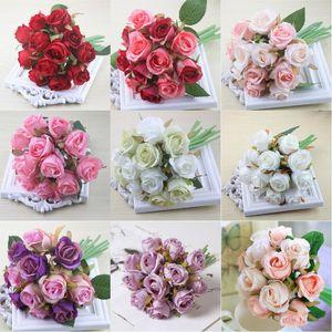 Novia Fotografía Flores Accesorios Artificial Rose Bouquet Simulación Decoración Flores Falsas Novia Artificial Rose DIY Boda Decoración Ramo