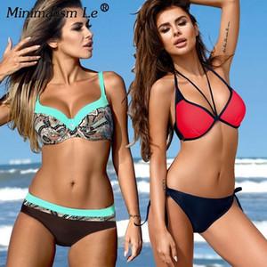 Minimalism Le 2018 Sexy Women Bikini Set Plus Size Swimsuit Push Up Bathing Suit Solid Bikinis Dot Bandage Beachwear Biquini XXL