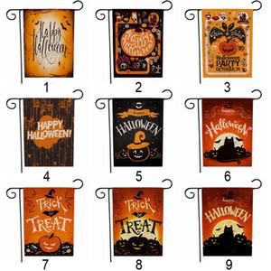Halloween Garten Flaggen beidseitige Drucken Kürbis-Hexen Im Freien hängenden Leinen Garten Flaggen Halloween Partydekoration BH2057 CY