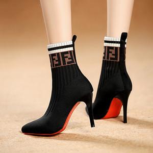 Весна Осень Женщины ботильоны вязаная эластичная соответсвующей цвет тонкодисперсных высоких каблуках сексуальные моды обувь пинетки Botas Mujer LY191224