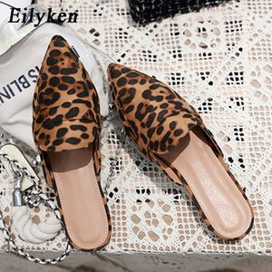 Eilyken 2019 New Mules Slippers Roma Style Flat Heel Scarpe da donna Leopard Fashion Flat con pantofole Taglia 35-41