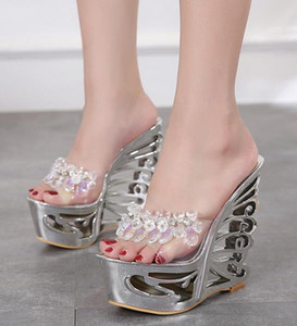 2020 silver rhinestone designer slides women sandals platform strange high heels shoes 14.5cm