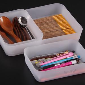 Almacenamiento de plástico gaveta de almacenamiento de cosmética Cubiertos cajas de almacenaje de escritorio Artículos diversos multifunción cesta color sólido Organizador Caja DBC BH2727