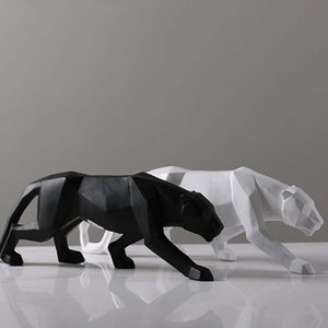 Creativo Moderno Abstracto Negro Pantera Escultura Geométrica Resina Leopardo Estatua Decoración de Vida Silvestre Regalo Artesanía Ornamento Accesorios Muebles