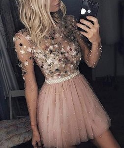 Free Shipping 2018 Sexy Pearl Handmade Flowers Evening Dress Elegant A-Line Long Sleeve Party Prom Skirt Short Dress