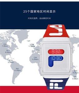 2020 nuovi uomini di arrivo di lusso Sport Watch Fashion Designer rosso blu LED Digital Word fuso orario da polso al quarzo Tempo libero Piazza quadrante dell'orologio