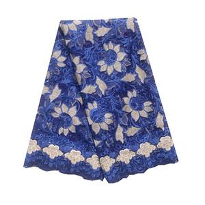 2020 бисер Bridal Африка ткани шнурка Royal Blue Mesh French Lace Ткань для свадебной 2019 Вина нигерийского Кружева Ткани 5Yard