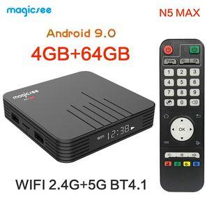 Н5 Magicsee максимум Android-ТВ коробка Смарт-tv коробка Amlogic S905X3 Андроид 9.0 приставки медиа-плеер 4 ГБ/64 ГБ 2.4 г/5.8 г беспроводной БТ