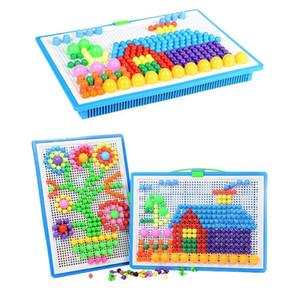 296 adet Mantar Çiviler Peg-kurulu Eğitim Renkli Bilmecenin Yapı Tuğlaları Yaratıcı DIY Mozaik Oyuncaklar Çocuklar için