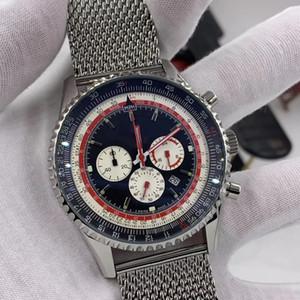 46mm Noir Cadran de quartz Chronograph Breit et Ling Mens montres Montres d'index lumineuses Montre-bracelet avec des marques de règles de la diapositive autour de la jante extérieure