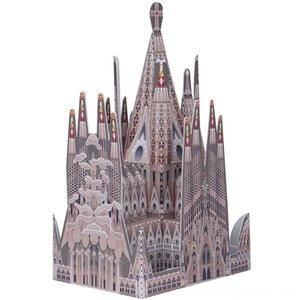 Spanien Sagrada Familia Folding Schneiden Mini 3D Paper Modell Haus Architekturpapercraft DIY Kinder Erwachsene Craft Spielzeug QD134