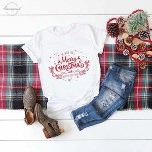 Noel Gömlek Kadın Tişörtlü Biz Wish You Merry Christmas Ve Yeni Yılınız Kutlu Olsun Moda Grafik Sevimli Tee Tops