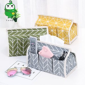 Cotton and linen cloth art paper towel box rural multi-functional set table top sundry storage