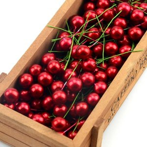30 unids Red Pearl Plastic Stamens Bead Artificial flor pequeña cereza cereza para la boda caja de pastel de Navidad guirnaldas decoración D19011101