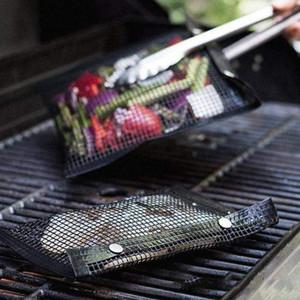 청소 야외 BBQ 피크닉 도구 주방 도구 BBQ 구워 가방 메쉬 굽고 가방 붙지 않는 재사용 가능한 쉬운