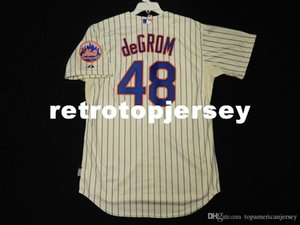 Barato Majestic NEW YORK # 48 Jacob deGrom FRESCO BASE Jersey Mens costurado Atacado grande e TAMANHO Alto XS-6XL camisola do basebol