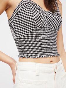 Women Vests Luxury T Women Shirt Retro Style Plaid Stripes Pleats Elastic Vests Slim Women Clothing Short Camisole Female Size S-L 11