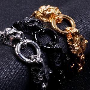 Hiphop Cool Lion Head Bracelet For Men Punk Rock Never Fade 316L Stainless Steel Men's Biker Byzantine Chain Bracelets Jewellery