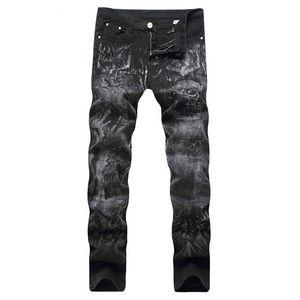 Crazy2019 Pop Lguc.H Men's Printing Black Slim Elasticity Skeleton Pattern Casual Jeans Cotton Comfortable Cowboy Large Size Trousers
