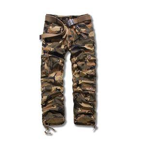 Весна мужского Камуфляжа Cargo Pants Big Кармана молния Fly мальчики Streetwears твердой сыпучая Мужская Relaxed Брюки