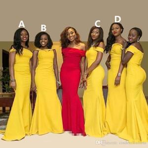 2020 인어 긴 신부 들러리 드레스 BATEAU 목 나이지리아 노란색 셔링 스윕 기차 플러스 사이즈 긴 이브닝 가운 Vestidos BM0178