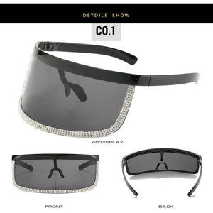 Crystal oversized shield visor sunglass ROSANNA Big Frame Rimless Sunglasses Women Brand Designer Oversized Shield Sun Glasses Women 8Skfn p