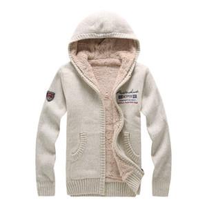 Otoño invierno moda casual suéter cardigan abrigo hombre suelto ajuste 100% lana cálido tejer ropa con capucha suéter abrigos tiburones hombres invierno