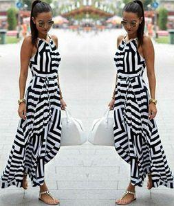 Frauen Sexy Sommer Boho Striped Sleeveless Maxi Kleid Beach Style Strap Sommerkleid
