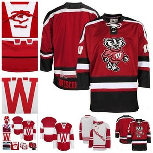 изготовленный на заказ Джерси 5XL 6XL NCAA Висконсин Барсуки колледж хоккей Джерси вышивка сшитые настроить любое количество и имя трикотажные изделия