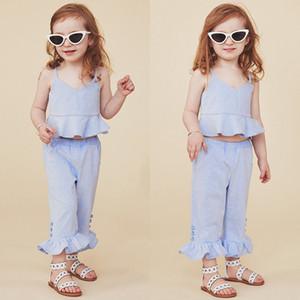 1-5T Summer Toddler Дети Baby Girl Модная одежда набор Boho Beach Полосатый Рюшами Растениеводство Топы расклешенные брюки Симпатичные наряды установить Sunsuit