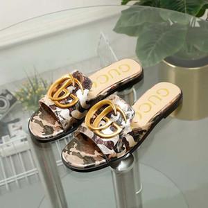 6 chaussures couleur design de plage plage d'été sandales plates et pantoufles intérieur dames de luxe pantoufles avec boîte N10