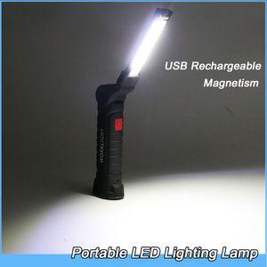 Portable 5 Mode lampe de poche COB USB Rechargeable LED travail lumière Magnétique Lanterna Suspension lampe de crochet pour Garage Studio lampe d'éclairage de secours