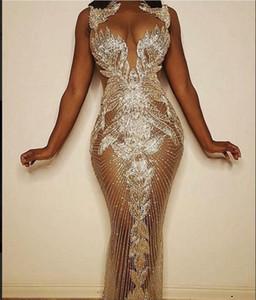 Abito da sera Ziad nudo Yousef aljasmi Collo alto Argento cristalli Off spalla Mermaid f loor lunghezza abito kim kardashian zaa