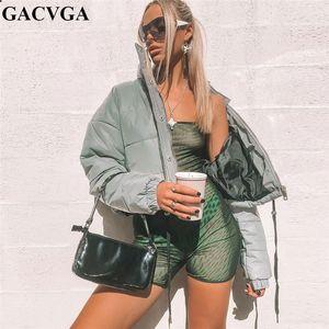 GACVGA court recadrée épais femmes Veste réfléchissante 2019 printemps d'hiver coupe-vent Vestes Bomber Streetwear et Manteaux