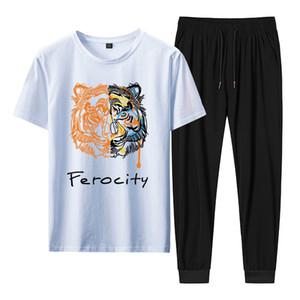 2020 Loose Summer New Fashion Printing Ice Porcelain Cotton Set Nylon Cropped Pants