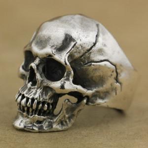 Einzigartige Crack Splitting Schädel Ringe Mens Satan Demon handgemachte dunkle Punk Lokomotive herrschsüchtig Ring Silber Punk Biker Schmuck