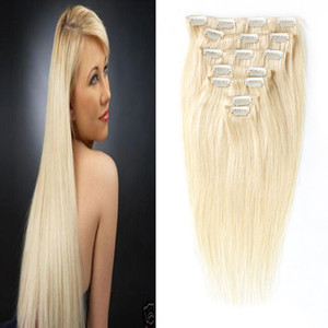 """16"""" -26 """" 100% Real Remy Hair Clips In 100% Human Hair Extensions 8pcs / set clip hair extensions"""